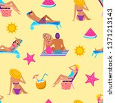 summer time vacation seamless...   Shutterstock .eps vector #1371213143