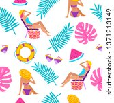 summer time vacation seamless...   Shutterstock .eps vector #1371213149
