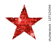 Abstract Red Star On A White...