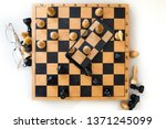 a wooden chess board and a...   Shutterstock . vector #1371245099