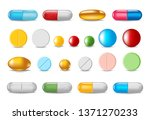 set of color pills and capsules ... | Shutterstock .eps vector #1371270233