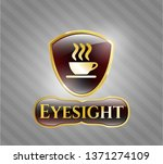 gold emblem with coffee cup... | Shutterstock .eps vector #1371274109