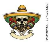 hand drawn sketch  color skull... | Shutterstock .eps vector #1371275333