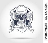 sketch  skull with cowboy hat ... | Shutterstock .eps vector #1371275336