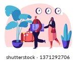 clerk in uniform meeting woman... | Shutterstock .eps vector #1371292706
