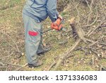 worker using chain saw and... | Shutterstock . vector #1371336083