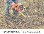 worker using chain saw and... | Shutterstock . vector #1371336116