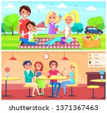 picnic and cafe poster happy... | Shutterstock . vector #1371367463