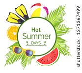 hot summer days poster with... | Shutterstock . vector #1371367499