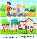 happy family having picnic... | Shutterstock . vector #1371367613