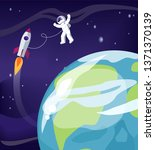 astronaut and earth with... | Shutterstock . vector #1371370139