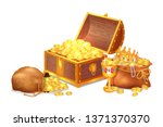 old shiny treasures in wooden... | Shutterstock . vector #1371370370