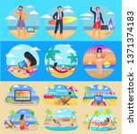 freelance summer people... | Shutterstock . vector #1371374183