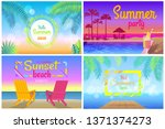 sunset beach party hello summer ... | Shutterstock . vector #1371374273