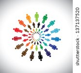 colorful multi ethnic people... | Shutterstock .eps vector #137137520