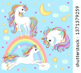 unicorn collection with magic... | Shutterstock .eps vector #1371379259