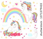 unicorn collection with magic... | Shutterstock .eps vector #1371379433