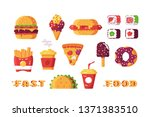 set of various type of fast... | Shutterstock .eps vector #1371383510