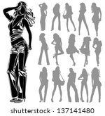 vector black silhouettes of... | Shutterstock .eps vector #137141480