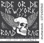 tee skull motorcycle graphic... | Shutterstock . vector #1371420563