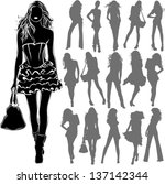 vector black silhouettes of... | Shutterstock .eps vector #137142344
