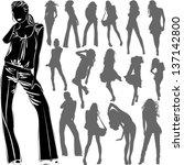 vector black silhouettes of... | Shutterstock .eps vector #137142800