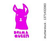 no drama llama. drama queen.... | Shutterstock .eps vector #1371432083