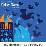 fire at notre dame cathedral ... | Shutterstock .eps vector #1371445250