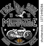 vintage motorcycle. hand drawn... | Shutterstock . vector #1371448286