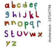 cartoon pencil shaped alphabet | Shutterstock . vector #137147798