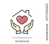 hands holding house with heart... | Shutterstock .eps vector #1371531623