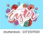 easter frame with easter eggs...   Shutterstock .eps vector #1371537020