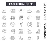 Stock vector cafeteria line icons signs set vector cafeteria outline concept illustration cafeteria cafe 1371554549