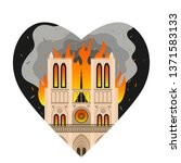notre dame cathedral burns in... | Shutterstock .eps vector #1371583133