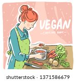 book illustration with cooking... | Shutterstock .eps vector #1371586679