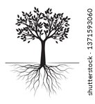 black tree with roots on white... | Shutterstock .eps vector #1371593060