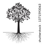 black tree with roots on white... | Shutterstock .eps vector #1371593063