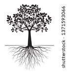 black tree with roots on white... | Shutterstock .eps vector #1371593066