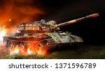 battle tank rides and the grass ...   Shutterstock . vector #1371596789