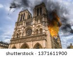 fire in notre dame cathedral... | Shutterstock . vector #1371611900