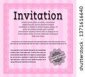 pink retro invitation template. ... | Shutterstock .eps vector #1371616640