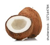 coconut isolated on white... | Shutterstock . vector #137164784