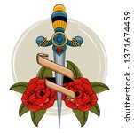 tattoo studio old school. sword ... | Shutterstock .eps vector #1371674459
