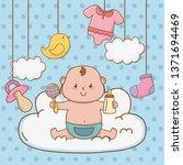 cute baby shower cartoon | Shutterstock .eps vector #1371694469