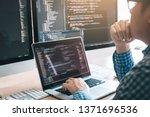 stress developing programming... | Shutterstock . vector #1371696536