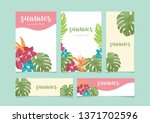 monstera and hibiscus summer... | Shutterstock .eps vector #1371702596
