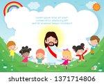 Jesus Christ And Group Of Happ...