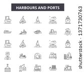 Harbours Line Icons  Signs Set...