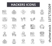 hackers line icons  signs set ... | Shutterstock .eps vector #1371731009