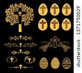 cross icons set. obituary... | Shutterstock . vector #1371750029